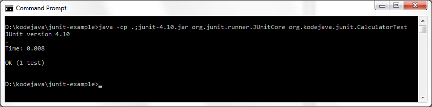 Executing JUnit Test